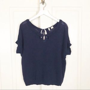 Anthropologie MOTH Cut Out Detail Navy S/S Sweater